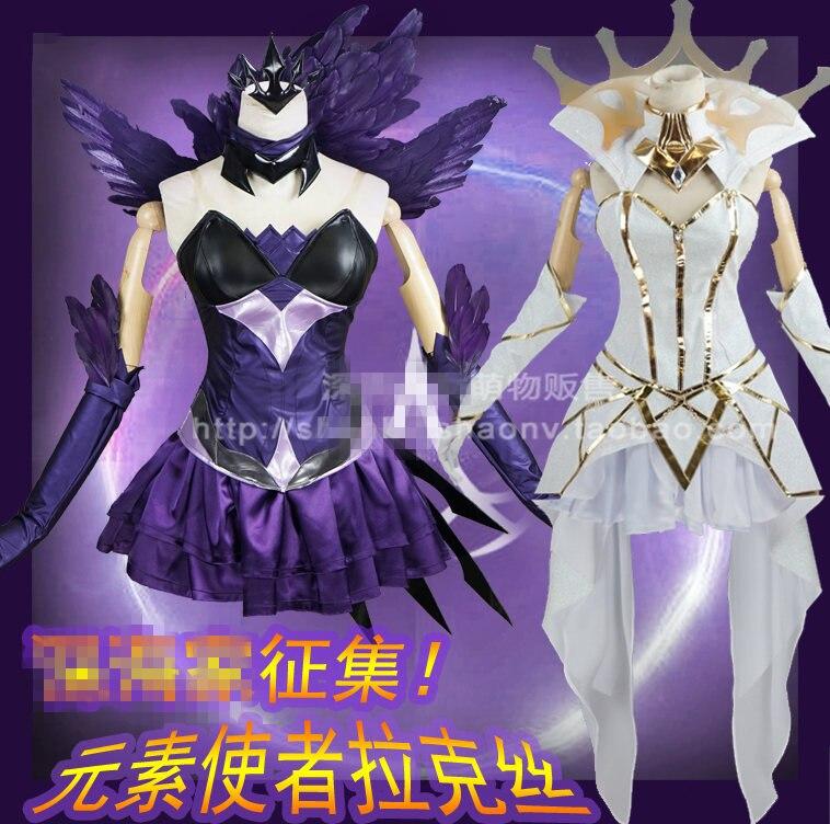 Feito sob Encomenda Branco de Lol o Jogo a Senhora da Luminosidade Anime Cosplay Traje Uniforme Preto ou c Lux