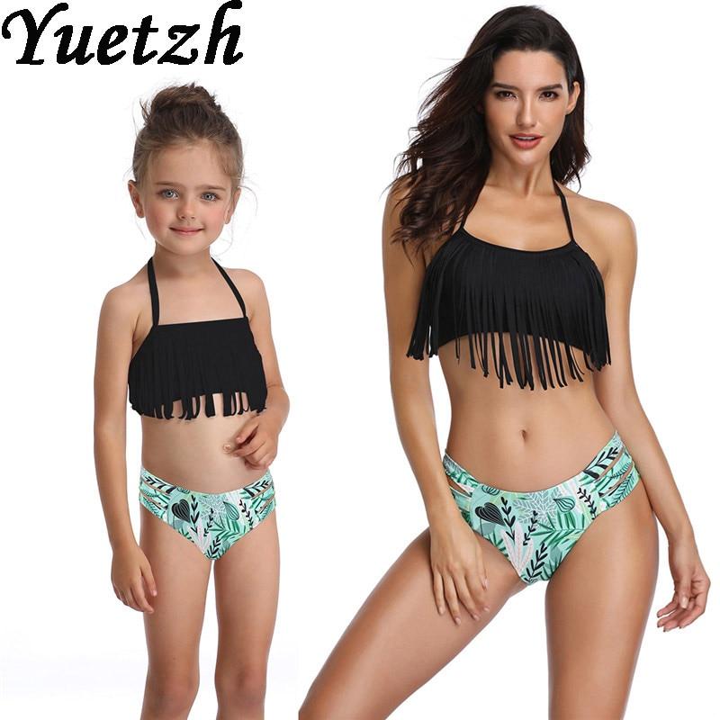 2019 New girls bikini swimwear women swimsuit bikinis set mother daugher swim suit kids child swimmi