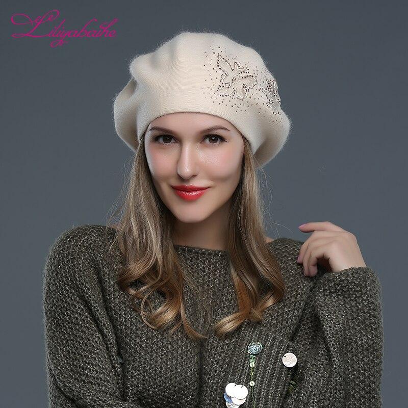 LILIYABAIHE nuevo estilo boinas para mujeres sombreros de invierno de punto de lana de angora boinas de flores decorativas alcance sombreros para las mujeres