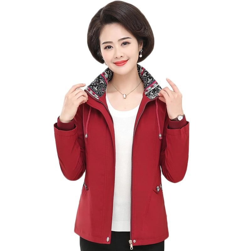 Women Trench Coat Spring Autumn Coat Mother Clothes New Long-sleeved Windbreaker Female Tops Plus Size 5XL Women Basic Coat