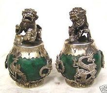 tibet silver Green Jade Carving Figures Dragon Phoenix lion foo dog Statue Garden Decoration 100% real Tibetan Silver Brass