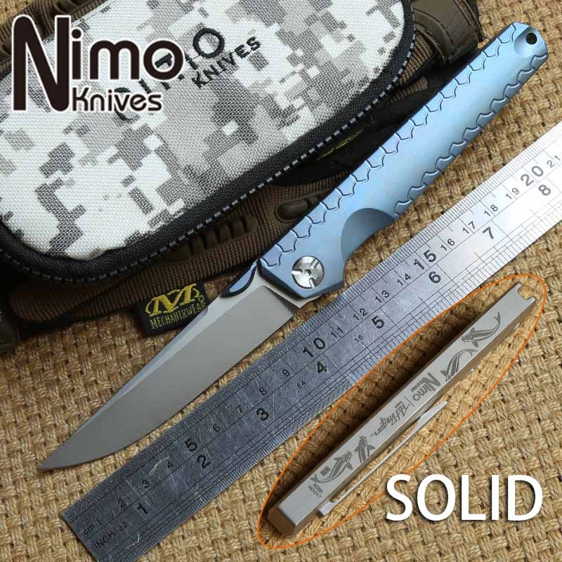 Nimo koi M390 شفرة محمل كروي سكين طي تكتيكي مقبض التيتانيوم البقاء على قيد الحياة في الهواء الطلق التخييم الصيد سكاكين الجيب EDC أدوات