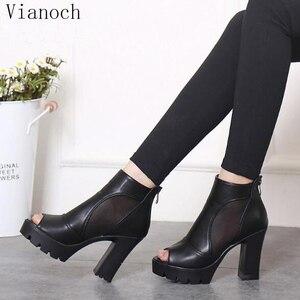 Fashion New Womens Platform Pumps Summer High Heels Peep Toe Thick Heels Shoes Black Lady aa0859