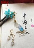 sky blue pink petal amazone stone cloisonne sanders hair stick hanfu costume hair accessories earrings hair jewelry