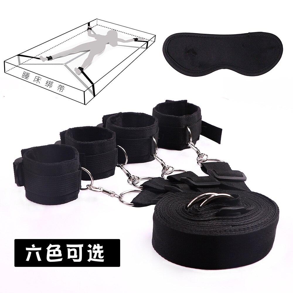 Nylon Plush Handcuff Bondage Under Bed BDSM Bondage Restraint System Games for Adults Wrists & Ankle Cuffs Sexy Lingerie Set