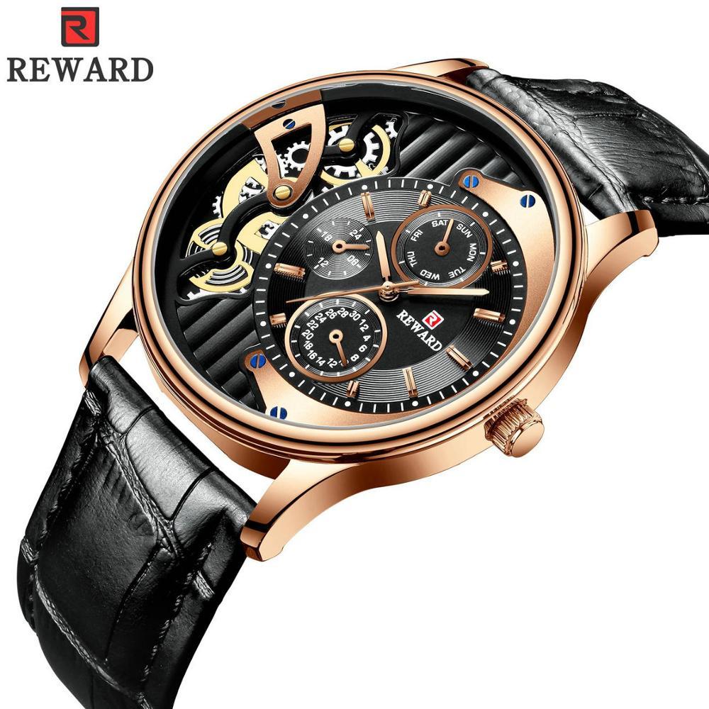 2019 REWARD Quartz Watch Men Clock Top Brand Luxury Skeleton Dial Leather Strap Fashion Business Wrist Watches reloj hombre