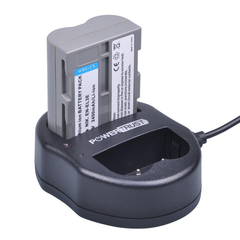1x2400 mAh EN-EL3E EN EL3E EN-EL3e батарея ENEL3E + двойное зарядное устройство USB для камеры Nikon D30 D50 D70 D80 D90 D100 D200 D300 D700