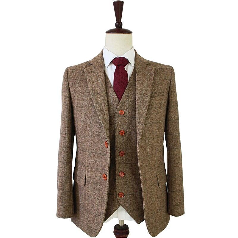 Trajes ajustados hechos a medida para hombre retro lana de espiga marrón Tweed boda Vestido personalizado para hombre traje de 3 piezas Blazers