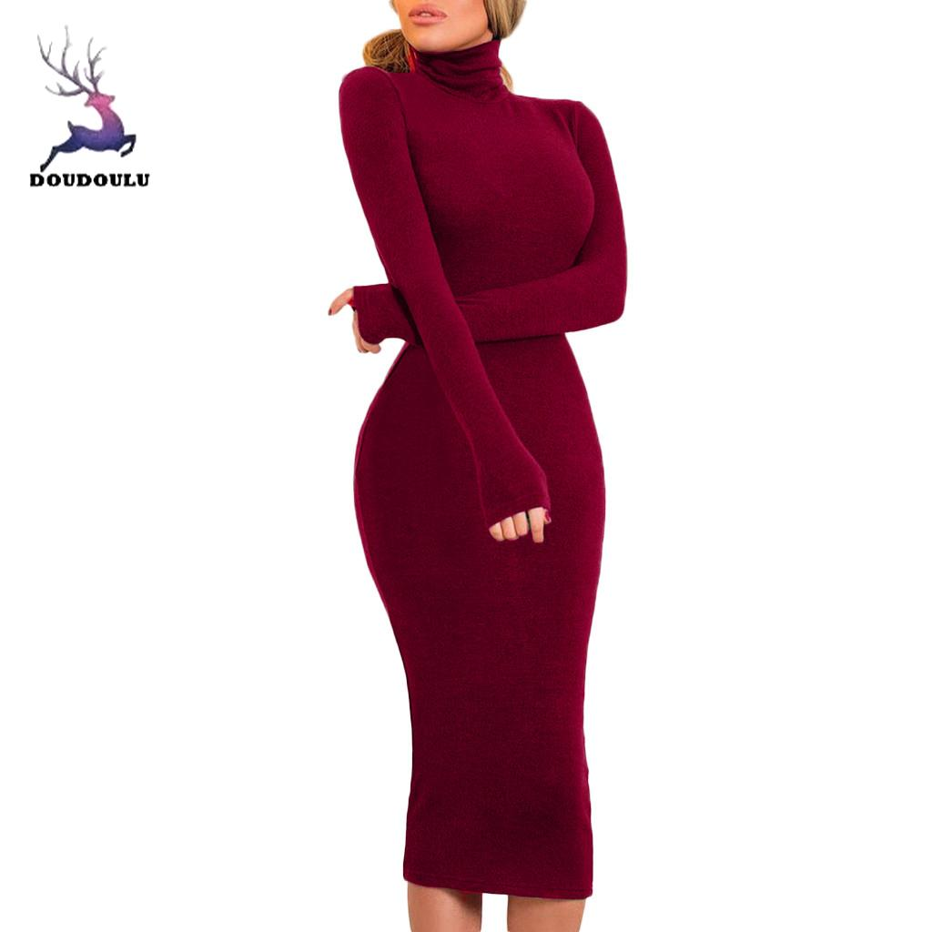 DOUDOULU 2018 a Forma Das Mulheres Vestido Longo Alta Neck Magro Aptidão Jumper mulheres Vestido de Festa vestidos de envio gratuitos senhora # WS