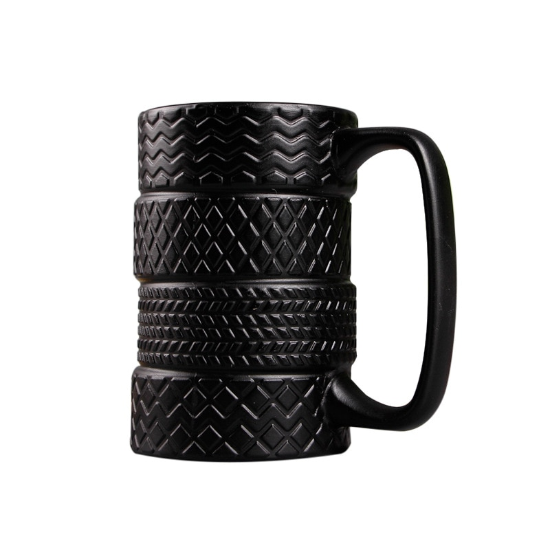 Taza de neumático negra creativa de 400 ml, nueva taza de té exótica puer, taza de cerámica de gran capacidad, tazas de café, tazas de té, regalos novedosos
