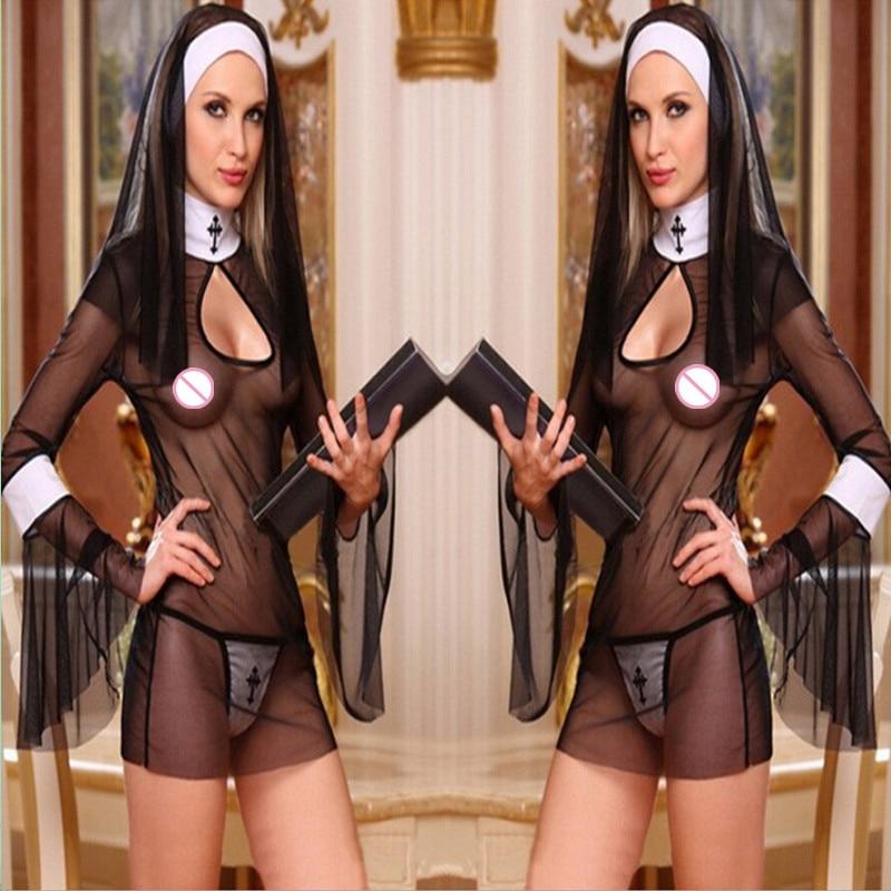 2017 черные костюмы монахали, платье Babydoll, Прозрачная форма для косплея, сексуальное экзотическое женское белье, одежда с длинным рукавом