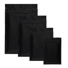 100 Uds mate negro de papel de aluminio bolsas de plástico Zip Lock a prueba de polvo de hierba de calor cierre Ziplock plano bolsa