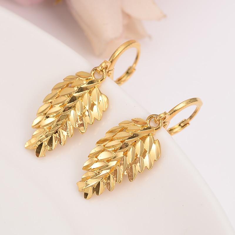Dubai Vintage declaración moda Oro africano Color Pendientes colgantes de hoja para las mujeres accesorios pendientes joyería Brincos niñas regalo