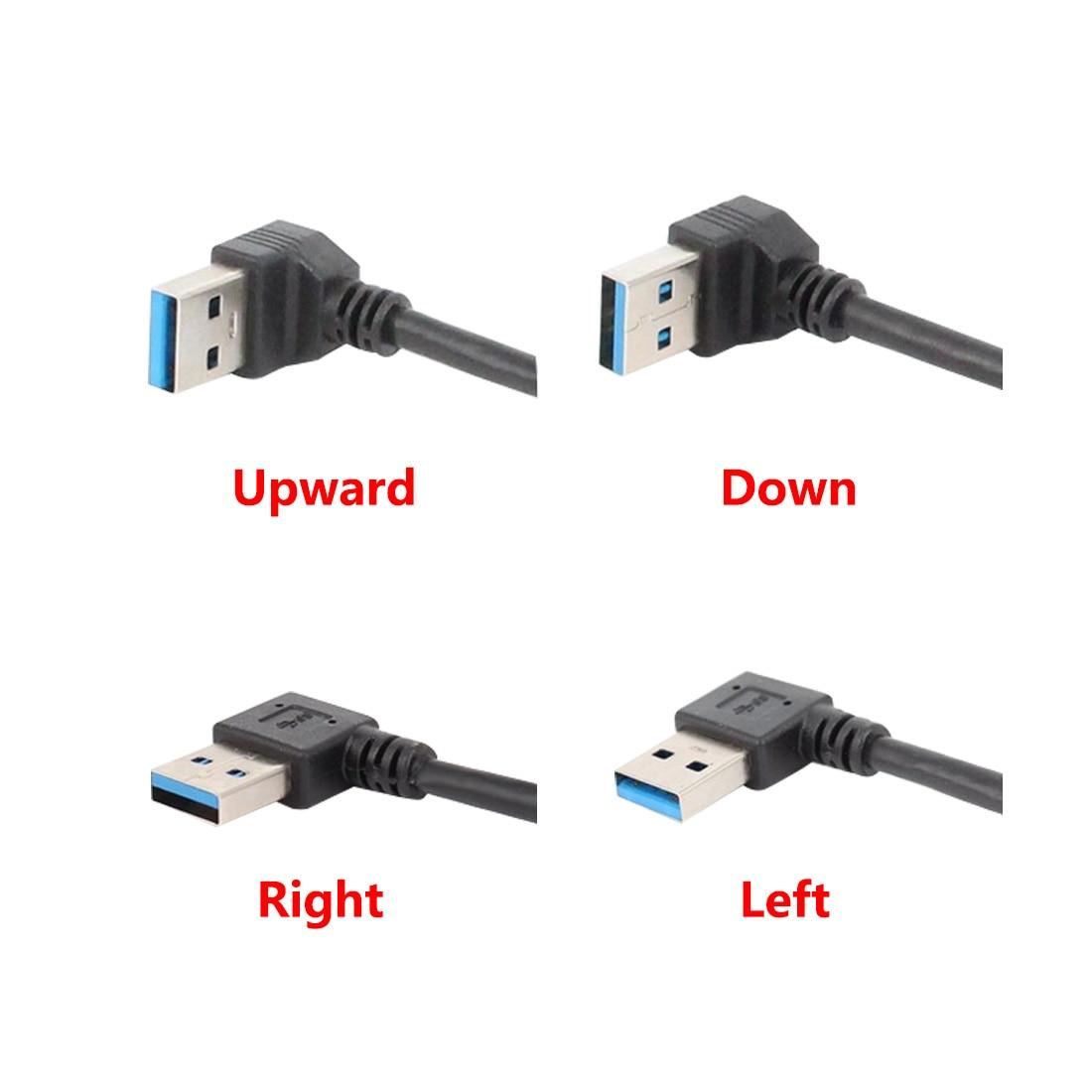 Cable de extensión USB 3,0 derecho/izquierdo/arriba/ángulo inclinado 90 grados macho a hembra 20cm Cable adaptador USB Cables