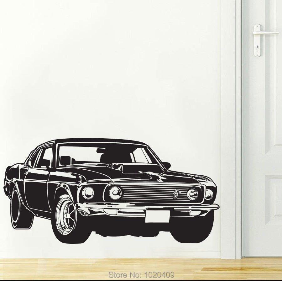 Shelby GT Ford Mustang, Adhesivo de pared de coche muscular, decoración de hogar DIY, papel tapiz de PVC para habitación de niños 3007