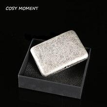 COSY MOMENT Brand Antique Silver Color Copper Cigarette Box Man Metal Tobacco Cigarette Case Holder Box For 16 Cigarettes YJ194