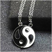 Melhor amigos pingente colar yin yang tai chi fofoca costura conjunto preto branco par corrente colar presente masculino