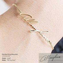 Handwriting Bracelet Charm Women Stainless Steel Name Bracelet Personalized Custom Jewelry Bijoux Femme Bff Gifts Erkek Bileklik