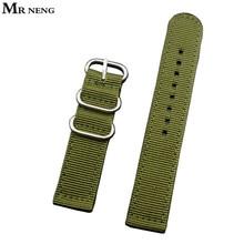 MR NENG Sport Nylon toile tissu bracelet de montre 22mm 24mm qualité vert Nylon bracelet de montre homme bracelet de montre otan bracelet 18mm 20mm