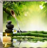 Rideau de douche etanche avec crochets  de scene verte  de salle de bain de haute qualite  transparent pour decorations de maison ou tapis