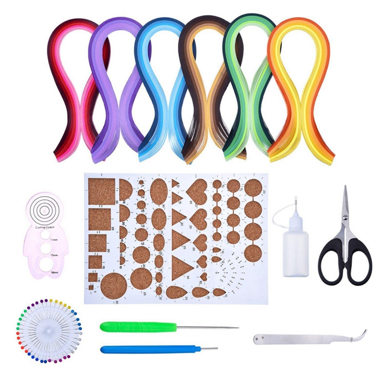 Completo papel para filigrana Material 600 tiras de papel de w/8 tipos necesario Kit para principiantes DIY Scrapbooking dibujos herramientas artesanía