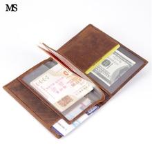 MS مجنون الحصان جلد طبيعي رجل صاحب الجواز محافظ الرجل البقر جواز تغطية محفظة الائتمان و بطاقة الهوية المحفظة الذكور q372