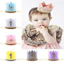 Diadema elástica para bebé niña y niño, diadema para la cabeza para niños, diadema para el pelo para bebé, diadema dorada para el pelo con flores, regalo para fiesta de cumpleaños