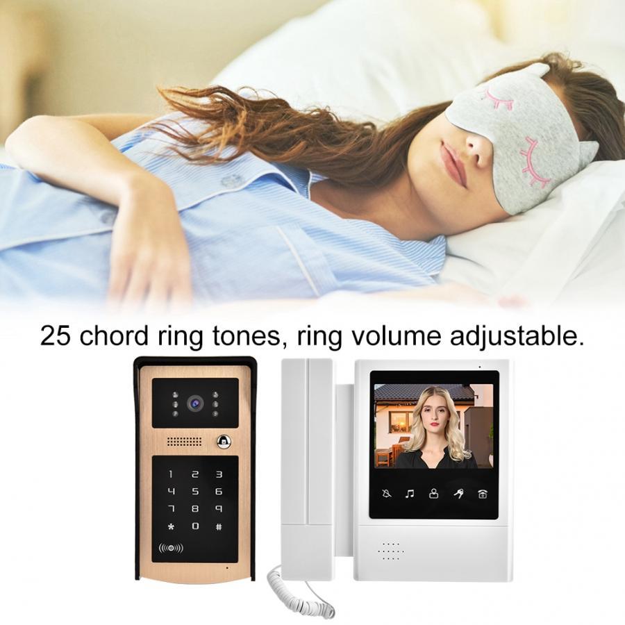 4,3 pulgadas Color LCD botón táctil Video puerta teléfono timbre intercomunicador sistema de entrada dzwonek campana de oficina para puerta