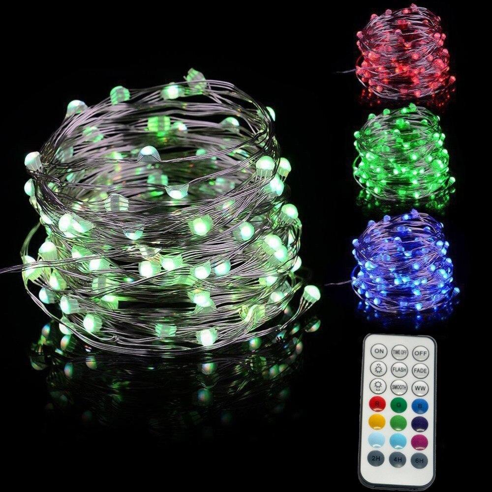 Guirnalda navideña de luces led RGB + luces de hadas cambiantes de Color blanco cálido cable de cobre remoto lámpara de Navidad para Patio de boda