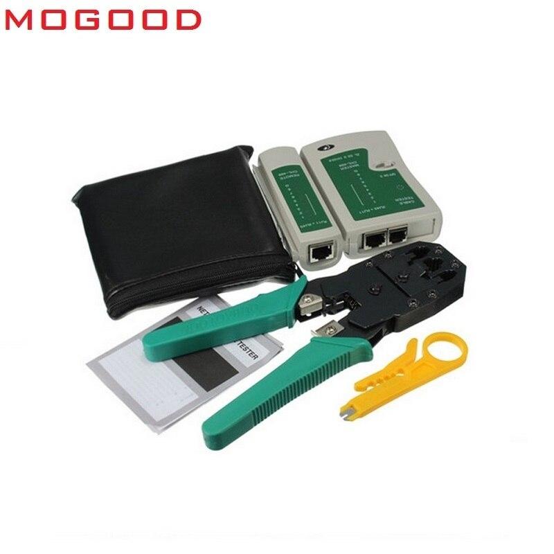 MoGood-outil réseau moins cher   Outil à sertir 3 en 1, Test des câbles, couteau à dénuder le fil, 50 pièces de connecteurs