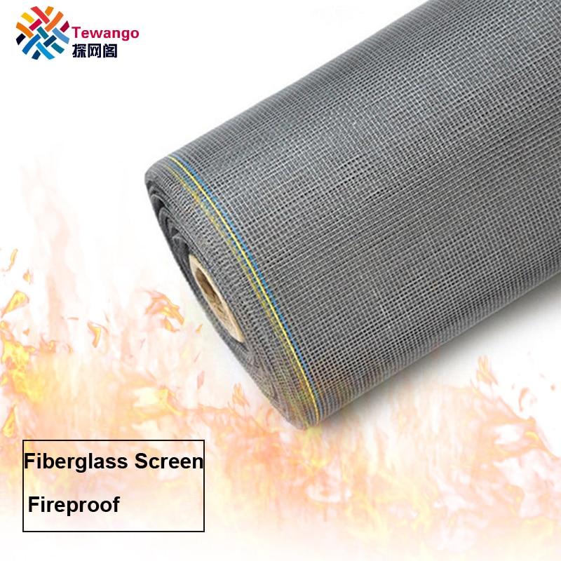 Tewango 28 M/rollo de malla de pantalla de fibra de vidrio resistente al fuego 16 malla mosquitera Invisible para Control de plagas ventana mosquitera 105GSM