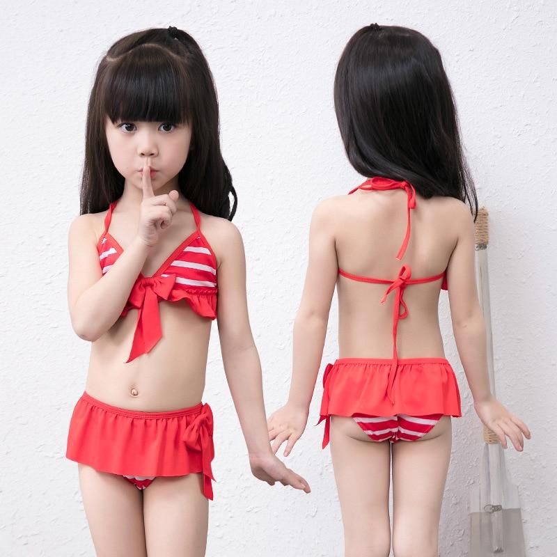 2019 Summer New Pop Kids Swimsuit Striped Bow Children Swimwear Kids Separate Two Pieces Skirted Swimsuit Girls Bikini Swim Wear