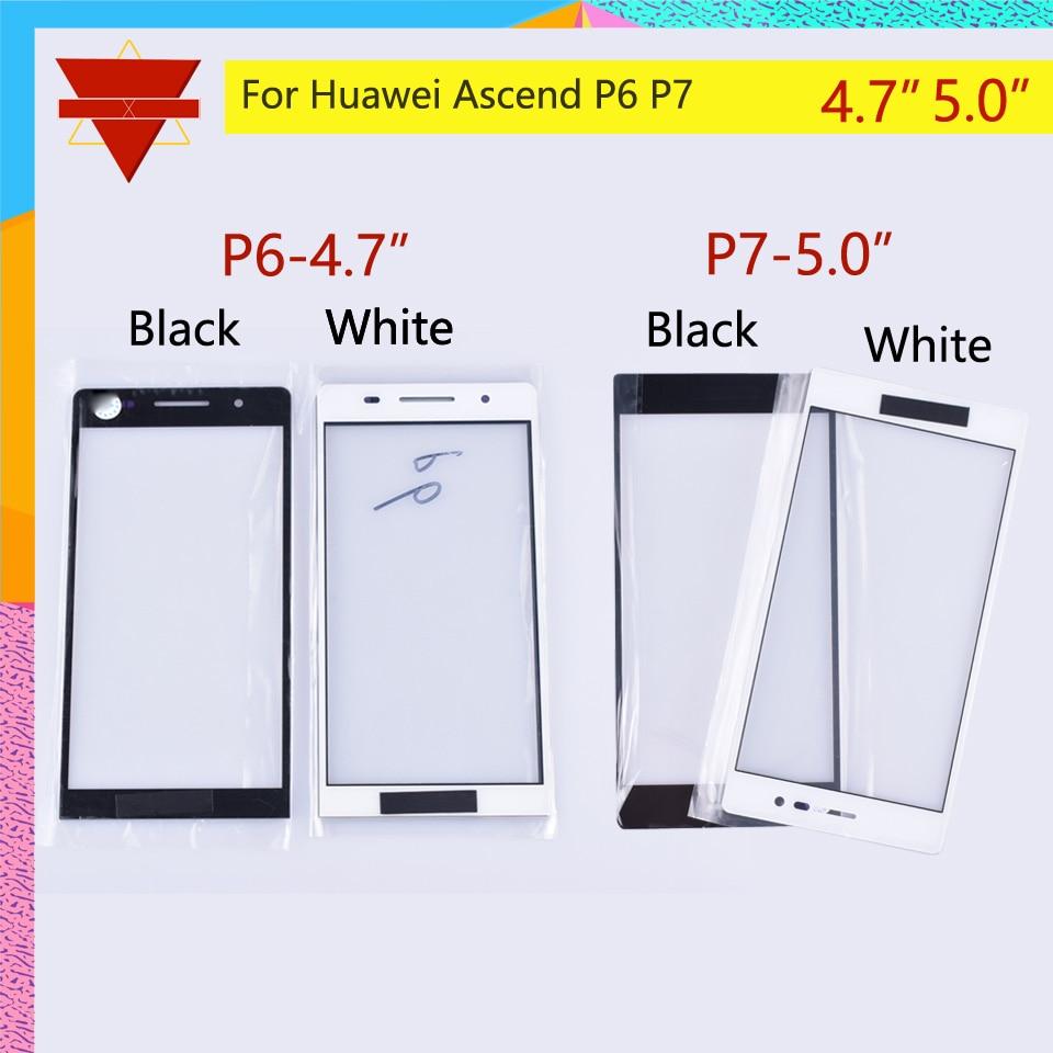10 uds/lote nuevo P6 P7 Panel frontal para Huawei Ascend P6 P7 Pantalla táctil frontal pantalla táctil de cristal lente Panel frontal exterior cristal LCD