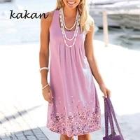 kakan summer women floral dress o neck sleeless tank dresses casual minimalist dress plus size s 5xl