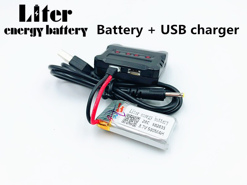 602035 de 3,7 V 500 mAh Lipo batería para Hubsan h107d MJXRC F47 Difeida DFD F180 FY310B m62R 3,7 V, 500 mah Lipo batería + cargador USB