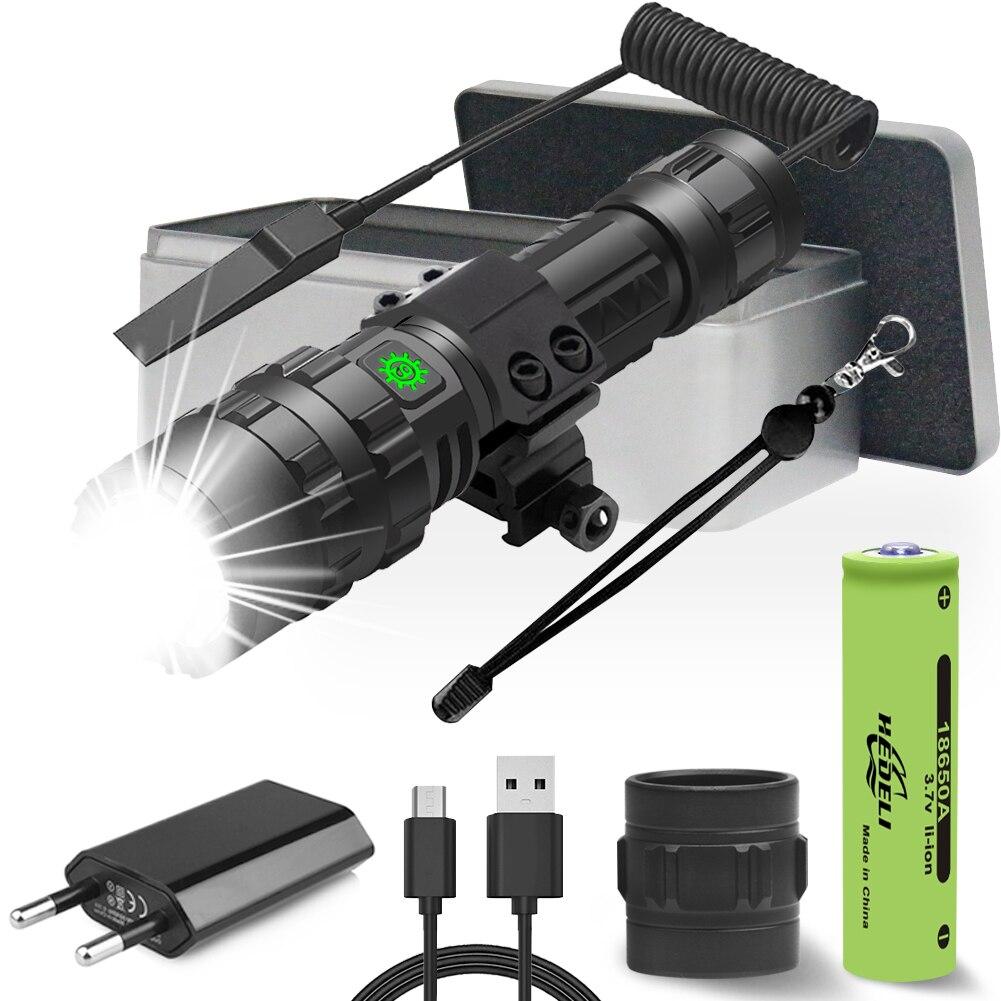 Linterna táctica led de caza más potente, linterna usb con interruptor trasero para ratas, lámpara led de mano XLamp cree XM L2 18650, luz recargable