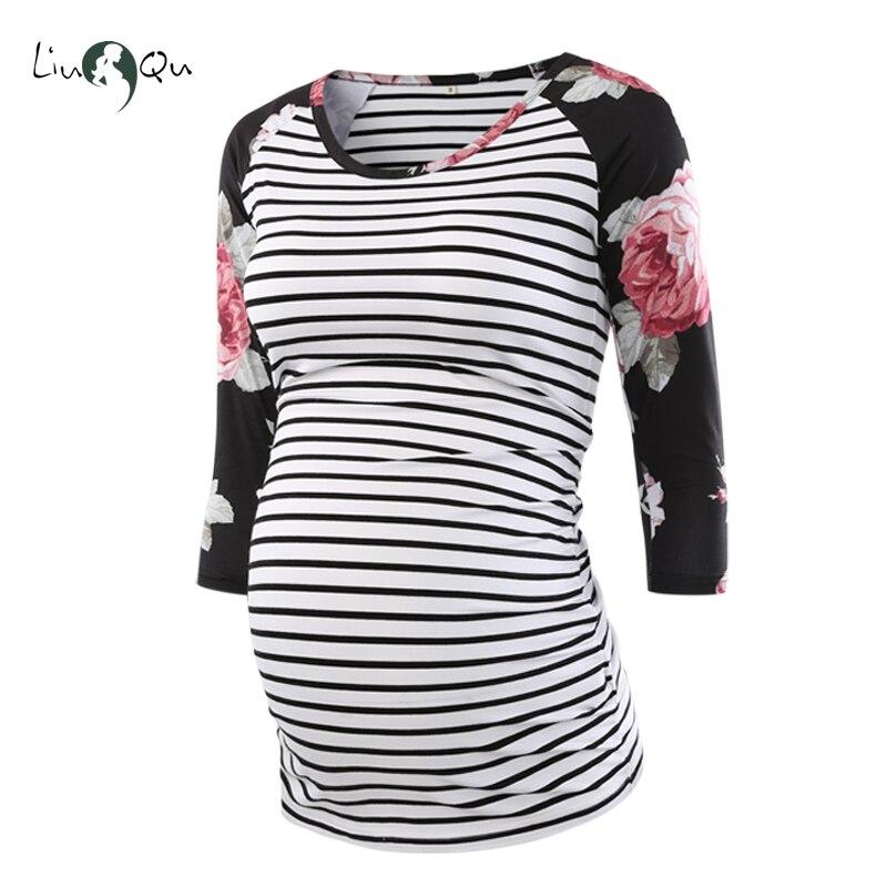 Blusa embarazada ropa de maternidad lado fruncido 3 cuartos manga Tops rayas y flores Jersey Top ropa de embarazo para mujeres Tops