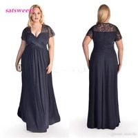 plus size formal dresses with lace short sleeves pleat chiffon navy blue lace prom gowns cheap mother of the bride dress