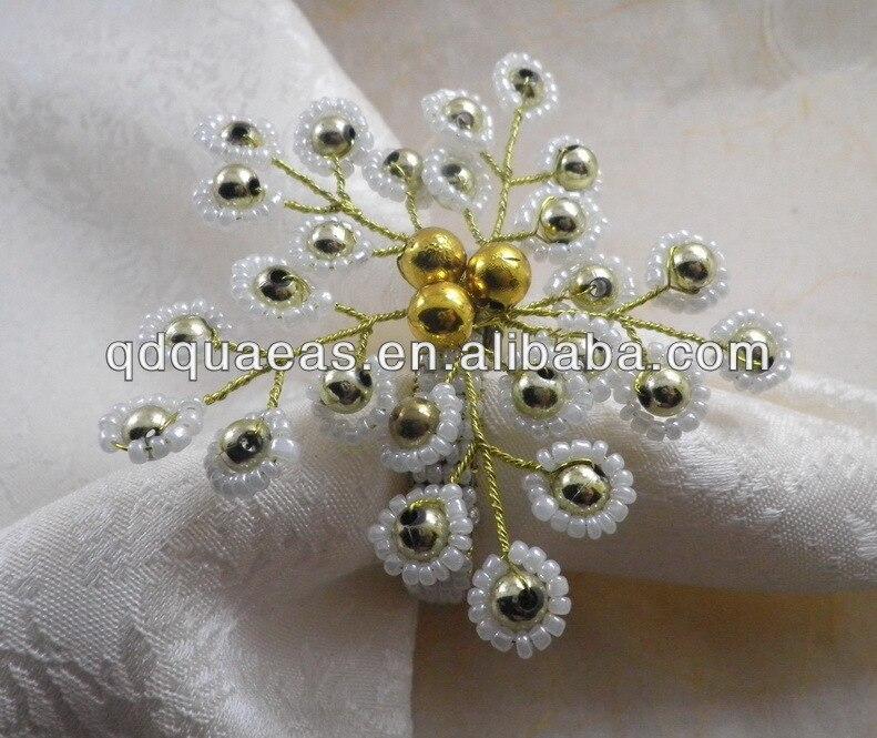 glass beaded flower napkin rings,free shipping