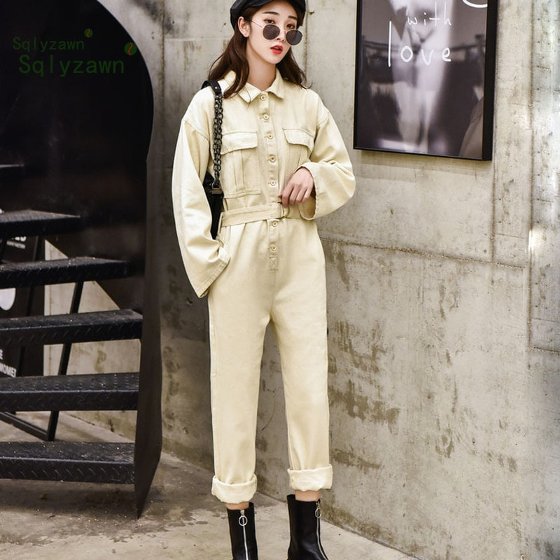 100% de algodón para mujer, ropa de calle, Mono vaquero caqui Retro de manga larga, monos vaqueros holgados con cinturón, pantalones de carga de pierna ancha, monos