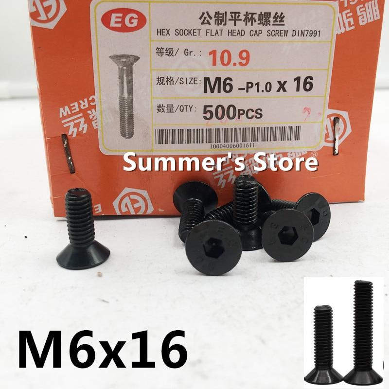 50 pçs/lote DIN7991 M6 * 16mm Aço Liga Hex Soquete Cap Parafusos de Cabeça Plana Escareados M6 * 16mm parafuso parafuso de cabeça preta Grau 10.9