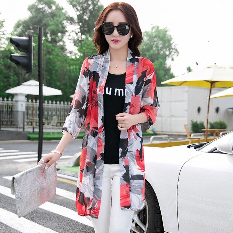 Blusa feminina kimono q1191, blusa feminina chiffon de verão e primavera, casual, protetor solar longo, camisa solta, praia, cardigã