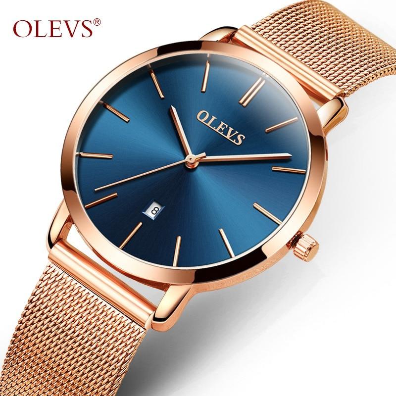 OLEVS Dress Quartz Wristwatches For Women Mesh Steel Strap Calendar Waterproof Ultra Thin Dial Ladies Automatic Watch  5868&L69