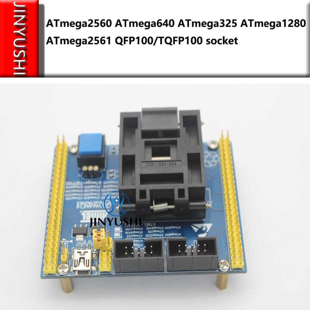 Раскладушка ATmega2560 ATmega640 ATmega325 ATmega1280 ATmega2561 QFP100/TQFP100 разъем IC Программирование тестовое сиденье тестовое гнездо