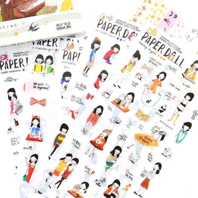 6 Sheets DIY Cute Cartoon Kawaii Girls Decorative Washi Stickers Scrapbooking Stick Label Diary Stationery Album Stickers