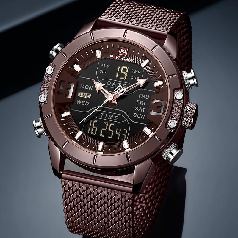 2019 New NAVIFORCE Men Fashion Dual Display Quartz Watch Mens Classic Stainless Steel Strap Sport Wristwatches Relogio Masculino