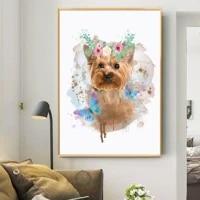 Fleur et chien mode impression nordique mur Art toile chien affiche peinture Animal decoration photo salon decor pour la maison