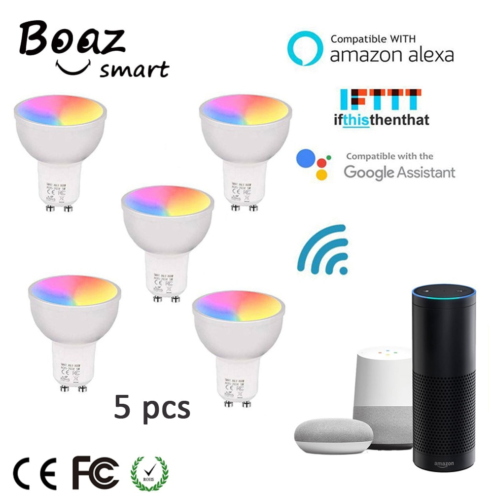 Bombilla Led inteligente GU10 Google Home bombilla Alexa bombilla LED inteligente RGBW cambio de Color Wifi foco Wifi Tuya foco 85-265V