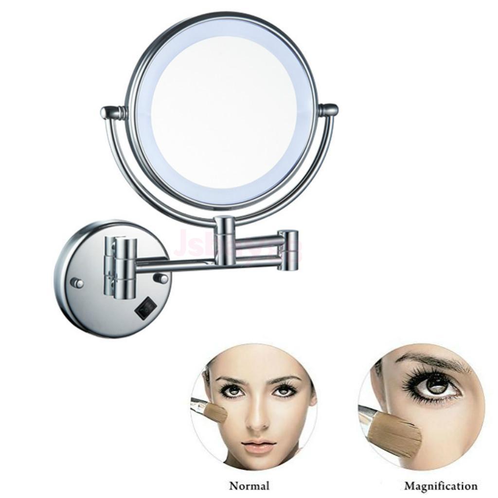 مرآة مكياج مزدوجة الجوانب قابلة للطي تثبت على الحائط 8 بوصة بإضاءة ليد 3x 5x 7x مرآة حلاقة للحمام