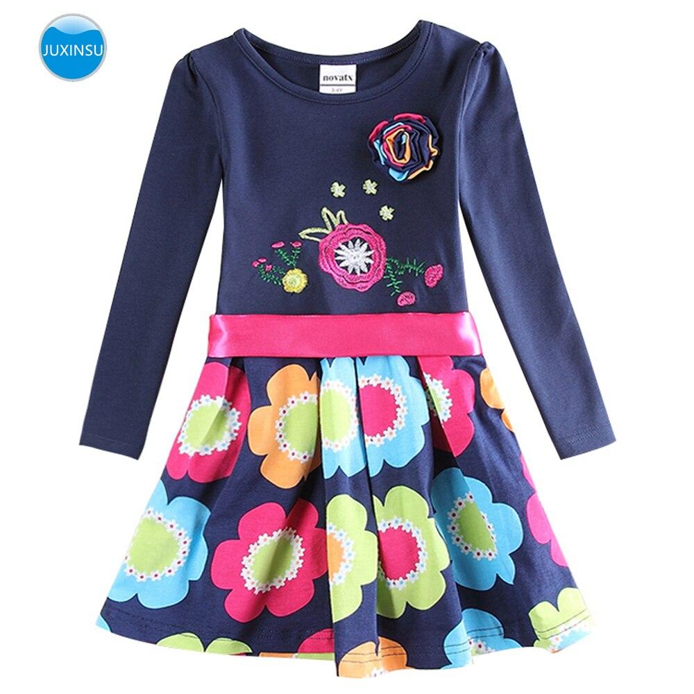 JUXINSU Cotton Toddler Flower Girl Long Sleeve Dress Autumn Winter Knee-Length Dresses Casual Clothing for Girls 1-8 Years